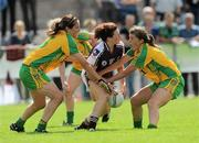 24 July 2010; Charlotte Cooney, Galway, in action against Tanya Kennedy, left, and Ciara Hegarty, Donegal. Ladies Gaelic Football Minor A Championship All-Ireland Final, Donegal v Galway, Seán O'Heslin GAA Cub, Ballinamore, Co. Leitrim. Picture credit: Brian Lawless / SPORTSFILE