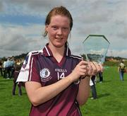 24 July 2010; Galway's Lisa Leonard with her Player of the Match award. Ladies Gaelic Football Minor A Championship All-Ireland Final, Donegal v Galway, Seán O'Heslin GAA Cub, Ballinamore, Co. Leitrim. Picture credit: Brian Lawless / SPORTSFILE