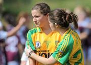 24 July 2010; Donegal's Niamh Friel, left, is consoled by team-mate Laura Stewart, after defeat to Galwayl. Ladies Gaelic Football Minor A Championship All-Ireland Final, Donegal v Galway, Seán O'Heslin GAA Cub, Ballinamore, Co. Leitrim. Picture credit: Brian Lawless / SPORTSFILE