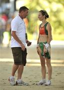 28 July 2010; Ireland's Olive Loughnane in conversation with Athletics Ireland High Performance Consultant Chris Jones after pulling out of the Women's 20k Walk Final. 20th European Athletics Championships Montjuïc Olympic Stadium, Barcelona, Spain. Picture credit: Brendan Moran / SPORTSFILE