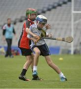 20 June 2016; Liam Mostyn of Bishop Galvin, Templeogue, in action against Seán Gallagher of Scoil Muire agus Iosaf, Bayside, during the Corn Marino match between Bishop Galvin, Templeogue and Scoil Muire agus Iosaf, Bayside, during the Allianz Cumann na mBunscol Finals at Croke Park in Dublin. Photo by Piaras Ó Mídheach/Sportsfile