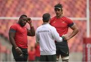 21 June 2016; Tendai Mtawarira, left, and Eben Etzebeth of South Africa with assistant coach Johann van Graan during squad training at Nelson Mandela Bay Stadium, Port Elizabeth, South Africa. Photo by Brendan Moran/Sportsfile