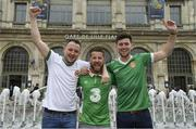 21 June 2016; Republic of Ireland supporters, left to right, Tony Campbell, Aaron Nelson, and Kieran Maguire, from Banbridge, Co. Down, at UEFA Euro 2016 in Lille, France. Photo by Stephen McCarthy/Sportsfile