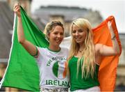 21 June 2016; Republic of Ireland supporters and siblings Aoife, left, and Shauna Quinn, from Dunmore, Co Galway, at UEFA Euro 2016 in Lille, France. Photo by Stephen McCarthy/Sportsfile
