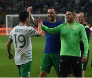 22 June 2016; Robbie Brady of Republic of Ireland celebrates with Richard Keogh and Jonathan Walters at the end of the UEFA Euro 2016 Group E match between Italy and Republic of Ireland at Stade Pierre-Mauroy in Lille, France. Photo by David Maher/Sportsfile