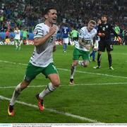 22 June 2016; Robbie Brady of Republic of Ireland celebrates after scoring his side's winning goal during the UEFA Euro 2016 Group E match between Italy and Republic of Ireland at Stade Pierre-Mauroy in Lille, France. Photo by David Maher/Sportsfile