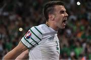 22 June 2016; Seamus Coleman of Republic of Ireland celebrates at the end of the game during the UEFA Euro 2016 Group E match between Italy and Republic of Ireland at Stade Pierre-Mauroy in Lille, France. Photo by David Maher/Sportsfile
