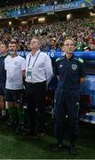 22 June 2016; Republic of Ireland manager Martin O'Neill with assistant manager Roy Keane and coach Steve Walford during the UEFA Euro 2016 Group E match between Italy and Republic of Ireland at Stade Pierre-Mauroy in Lille, France. Photo by David Maher/Sportsfile
