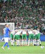 22 June 2016; Republic of Ireland form a huddle before the start of the UEFA Euro 2016 Group E match between Italy and Republic of Ireland at Stade Pierre-Mauroy in Lille, France. Photo by David Maher/Sportsfile