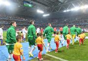 22 June 2016; Republic of Ireland players walk out for the start of the game at the UEFA Euro 2016 Group E match between Italy and Republic of Ireland at Stade Pierre-Mauroy in Lille, France. Photo by David Maher/Sportsfile