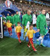 22 June 2016; Republic of Ireland captain Seamus Coleman leads the team out during the UEFA Euro 2016 Group E match between Italy and Republic of Ireland at Stade Pierre-Mauroy in Lille, France Photo by David Maher/Sportsfile
