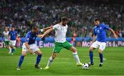 22 June 2016; Daryl Murphy of Republic of Ireland in action against Federico Bernardeschi, left, and Thiago Motta of Italy during the UEFA Euro 2016 Group E match between Italy and Republic of Ireland at Stade Pierre-Mauroy in Lille, France. Photo by Stephen McCarthy/Sportsfile