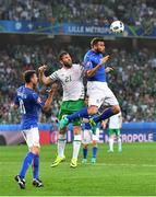 22 June 2016; Andrea Barzagli of Italy in action against Daryl Murphy of Republic of Ireland during the UEFA Euro 2016 Group E match between Italy and Republic of Ireland at Stade Pierre-Mauroy in Lille, France. Photo by Stephen McCarthy/Sportsfile