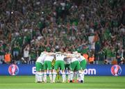 22 June 2016; The Republic of Irealnd team huddle before the UEFA Euro 2016 Group E match between Italy and Republic of Ireland at Stade Pierre-Mauroy in Lille, France. Photo by Stephen McCarthy/Sportsfile