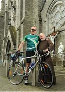 24 June 2016; 100 cyclists set off on their 2 day journey from the Capuchin Day Centre in Smithfield to Belmullet, Co. Mayo. The cyclists, among them Mayo legend David Brady, are closing in on their fundraising target of €100,000 which will go directly to the Capuchin Day Centre which has been providing relief for the homeless since 1969. Pictured are former Mayo footballer David Brady, left, and Brother Kevin Crowley, outside the Capuchin Friary at St. Mary of the Angels Church at Smithfield, Dublin. Photo by Seb Daly/Sportsfile