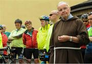24 June 2016; 100 cyclists set off on their 2 day journey from the Capuchin Day Centre in Smithfield to Belmullet, Co. Mayo. The cyclists, among them Mayo legend David Brady, are closing in on their fundraising target of €100,000 which will go directly to the Capuchin Day Centre which has been providing relief for the homeless since 1969. Pictured is Brother Kevin Crowley ahead fo the charity cycle ride. Capuchin Day Centre, Smithfield, Dublin. Photo by Seb Daly/Sportsfile