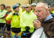 24 June 2016; 100 cyclists set off on their 2 day journey from the Capuchin Day Centre in Smithfield to Belmullet, Co. Mayo. The cyclists, among them Mayo legend David Brady, are closing in on their fundraising target of €100,000 which will go directly to the Capuchin Day Centre which has been providing relief for the homeless since 1969. Pictured is Brother Kevin Crowley as he wishes cyclists well on their journey. Capuchin Day Centre, Smithfield, Dublin. Photo by Seb Daly/Sportsfile