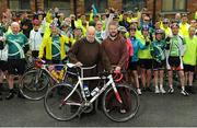 24 June 2016; 100 cyclists set off on their 2 day journey from the Capuchin Day Centre in Smithfield to Belmullet, Co. Mayo. The cyclists, among them Mayo legend David Brady, are closing in on their fundraising target of €100,000 which will go directly to the Capuchin Day Centre which has been providing relief for the homeless since 1969. Pictured is Brother Kevin Crowley, left, ahead of the charity cycle ride. Capuchin Day Centre, Smithfield, Dublin. Photo by Seb Daly/Sportsfile