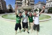 24 June 2016; Republic of Ireland supporters, from left to right, Craig Connolly, from Tallaght, Dublin, Declan McCabe, from Templeouge, Dublin, Ian McCarthy, from Ardpatrick, Limerick, and Shane Valentine, from Tallaght, Dublin, in Lyon ahead of Sunday's game. Photo by Stephen McCarthy/Sportsfile