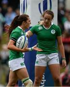 25 June 2016; Amee Leigh Murphy Crowe, left, of Ireland is congratulated by teammate Stacey Flood after scoring her side's ninth try of the match the World Rugby Women's Sevens Olympic Repechage Pool C match between Ireland and Trinidad & Tobago at UCD Sports Centre in Belfield, Dublin. Photo by Seb Daly/Sportsfile