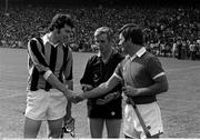 3 September 1978; Kilkenny captain Ger Henderson, left, shakes hands with Cork captain Charlie McCarthy, as referee Jimmy Rankins looks on. All-Ireland Hurling Final, Cork v Kilkenny, Croke Park, Dublin. Picture credit: Connolly Collection / SPORTSFILE