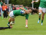 25 June 2016; Amee Leigh Murphy Crowe of Ireland scores her side's first try of the match during the World Rugby Women's Sevens Olympic Repechage Pool C match between Ireland and China at UCD Sports Centre in Belfield, Dublin. Photo by Seb Daly/Sportsfile