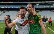 25 June 2016; Shane McGann of Meath, left, and team-mate Steven Clynch celebrate after the Christy Ring Cup Final Replay between Antrim and Meath at Croke Park in Dublin. Photo by Piaras Ó Mídheach/Sportsfile