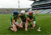25 June 2016; Meath's, from left, Stephen Morris, Damian Healy and Seán Quigley celebrate after the Christy Ring Cup Final Replay between Antrim and Meath at Croke Park in Dublin. Photo by Piaras Ó Mídheach/Sportsfile