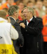 4 August 2010; Manchester United manager Sir Alex Ferguson with Airtricity League XI manager Damien Richardson at the end of the game. Friendly Match, Airtricity League XI v Manchester United, Aviva Stadium, Lansdowne Road, Dublin. Picture credit: David Maher / SPORTSFILE