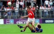 8 July 2001; Gerard Toner, Tyrone, in action against Edmond Lennon, Monaghan. Tyrone v Monaghan Ulster Minor Football Championship Final, St. Tighearnach's Park, Clones, Co. Monaghan. Picture credit; David Maher / SPORTSFILE