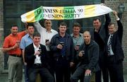 23 July 2001; Former Irish soccer internationals, from left (back row), John Aldridge, Andy Townsend, Tony Cascarino, Kevin Moran, Kevin Sheedy, Packie Bonner and Clive Brownlee Assistant MD Guinness Ireland, (front row), Frank Stapleton, left, and Paul McGrath pictured at the Italia '90 reunion bash, Guinness Storehouse building, St. James Gate, Dublin. Picture credit; David Maher / SPORTSFILE