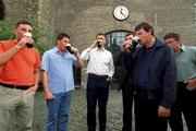 23 July 2001; Former Irish soccer internationals, from left to right, John Aldridge, Andy Townsend, Tony Cascarino, Packie Bonner, Kevin Moran and Kevin Sheedy, pictured at the Italia '90 reunion bash, Guinness Storehouse building, St. James Gate, Dublin. Picture credit; David Maher / SPORTSFILE