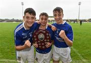 26 June 2016; Triplets from left, Aidan, Sean and team Celbridge, Co. Kildare, captain Ciaran Hancock celebrate winning the John West Féile Peile na nÓg Division 1 Shield Final against Killarney Legion, Co. Kerry at Austin Stack Park in Tralee, Co Kerry.  Photo by Matt Browne/Sportsfile