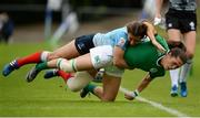 26 June 2016; Amee Leigh Murphy Crowe of Ireland is tackled by Ekaterina Kazakova of Russia during the World Rugby Women's Sevens Olympic Repechage Semi Final match between Russia and Ireland at UCD Sports Centre in Belfield, Dublin. Photo by Seb Daly/Sportsfile