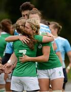 26 June 2016; Nicole Cronin, left, of Ireland is consoled by teammate Megan Williams following their side's defeat during the World Rugby Women's Sevens Olympic Repechage Semi Final match between Russia and Ireland at UCD Sports Centre in Belfield, Dublin. Photo by Seb Daly/Sportsfile