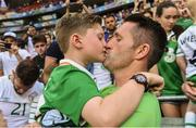 26 June 2016; Robbie Keane of Republic of Ireland with his son Robert after the UEFA Euro 2016 Round of 16 match between France and Republic of Ireland at Stade des Lumieres in Lyon, France. Photo by David Maher/Sportsfile