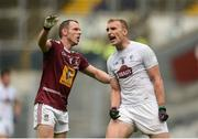 26 June 2016; Tommy Moolick of Kildare reacts after missing a scoring chance as Francis Boyle of Westmeath looks on during the Leinster GAA Football Senior Championship Semi-Final match between Kildare and Westmeath at Croke Park in Dublin. Photo by Piaras Ó Mídheach/Sportsfile