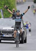 26 June 2016; Nicholas Roche of Team Sky Procycling celebrates as he crosses the finish line to take victory in the Elite Men's event at the National Road Race Championships in Kilcullen, Co Kildare. Photo by Stephen McMahon / Sportsfile