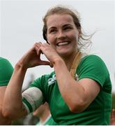 26 June 2016; Aoife Doyle of Ireland signals to the crowd following her side's victory in the World Rugby Women's Sevens Olympic Repechage Championship Bronze Medal match between Ireland and Kazakhstan at UCD Sports Centre in Belfield, Dublin. Photo by Seb Daly/Sportsfile