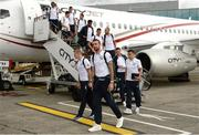 27 June 2016; The Republic of Ireland squad including Shane Duffy, front, on their arrival back from UEFA Euro 2016 on CityJet's new Superjet. CityJet is the official partner to the FAI. Dublin Airport, Dublin. Photo by Piaras Ó Mídheach/Sportsfile