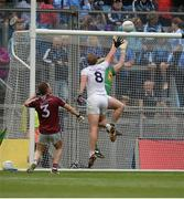 26 June 2016; Tommy Moolick of Kildare contests possession with Westmeath goalkeeper Darren Quinn, before Cathal McNally of Kildare scored a second half goal that was ruled out by referee Derek O'Mahoney during the Leinster GAA Football Senior Championship Semi-Final match between Kildare and Westmeath at Croke Park in Dublin. Photo by Piaras Ó Mídheach/Sportsfile