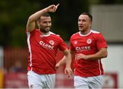 28 June 2016; Christy Fagan, left, of St. Patrick's Athletic celebrates with team-mate Graham Kelly, after scoring his side's first goal during the UEFA Europa League First Qualifying Round 1st Leg game between St. Patrick's Athletic and AS Jeunesse Esch at Richmond Park in Dublin. Photo by Paul Mohan/Sportsfile