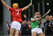 28 June 2016; Barry Nash of Limerick in action against Conor Twomey of Cork during the Bord Gáis Energy Munster U21 Hurling Championship Quarter-Final match between Limerick and Cork at Páirc Uí Rinn in Cork. Photo by Seb Daly/Sportsfile