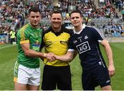 26 June 2016; Referee Rory Hickey, with captains, Donal Keogan, left, of Meath and Stephen Cluxton of Dublin at the captains toss before the Leinster GAA Football Senior Championship Semi-Final match between Dublin and Meath at Croke Park in Dublin. Photo by Oliver McVeigh/Sportsfile