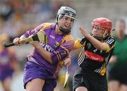 14 August 2010; Ursula Jacob, Wexford, in action against Jacqui Frisby, Kilkenny. Gala All-Ireland Senior Camogie Championship Semi-Final, Kilkenny v Wexford, Nowlan Park, Kilkenny. Picture credit: Matt Browne / SPORTSFILE