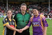 14 August 2010; Referee Fintan McNamara with Kilkenny, captain Ann Dalton and Wexford captain Una Leacy. Gala All-Ireland Senior Camogie Championship Semi-Final, Kilkenny v Wexford, Nowlan Park, Kilkenny. Picture credit: Matt Browne / SPORTSFILE