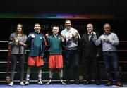 2 July 2016; Former Olmpic medallists, from left, Katie Taylor, Michael Conlan, Paddy Barnes, Kenneth Egan, Michael Carruth, and Hugh Russell in the ring before the Boxing Test Match event between Ireland and Russia at The National Stadium in Dublin. Photo by Paul Mohan/Sportsfile