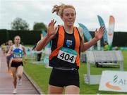 2 July 2016; Emma O'Brien of Sli Cualann A.C., reacts after winning the Junior Womens 1500m during the GloHealth National Junior and U23 Track & Field Championships at Tullamore Harriers Stadium in Tullamore, Offaly. Photo by Sam Barnes/Sportsfile