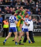 2 July 2016; Christy Toye and Michael Murphy, top, of Donegal celebrate after the Ulster GAA Football Senior Championship Semi-Final Replay between Donegal and Monaghan at Kingspan Breffni Park in Cavan. Photo by Stephen McCarthy/Sportsfile