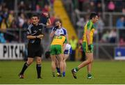 2 July 2016; Rory Kavanagh of Donegal, right, receives a red card from referee Maurice Deegan during the Ulster GAA Football Senior Championship Semi-Final Replay between Donegal and Monaghan at Kingspan Breffni Park in Cavan. Photo by Stephen McCarthy/Sportsfile